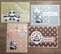Bildergebnis für stampin up party panda Panda Birthday, Kids Birthday Cards, Handmade Birthday Cards, Kids Cards, Baby Cards, Stampin Up, Bear Card, Karten Diy, Panda Party