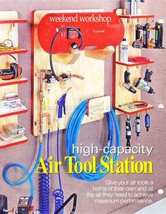 I'm liking this layout, will have to modify it some since I have an air compressor already and not a standalone tank, but good ideas in this!  -- #1006 Air Tool Station Plan - Workshop Solutions Plans, Tips and Tricks