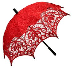 Battenberg Lace Parasol, Red