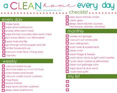 Perfect printable cleaning schedule for keeping your home clean every single day!