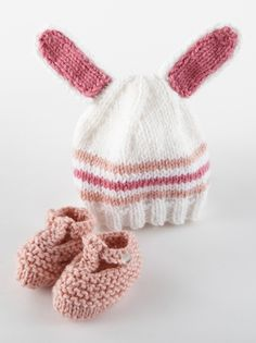 bunny knit hat & booties