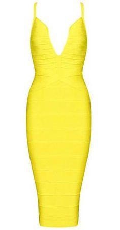 Heather Yellow Deep V Neckline  Bandage Dress