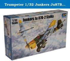 Trumpeter 1/32 Junkers Ju87B2 Stuka Ground Attack Aircraft. The Ju 87B series was to be the first mass-produced variant. A total of six pre-production Ju 87B-0 were produced, built from Ju 87A airframes. The first production version had a considerably larger engine, and completely redesigned fuselage and landing gear. The B-1 was fitted with propeller-driven sirens mounted on the wing's leading edge. This was used to weaken enemy morale and enhance the intimidation of dive-bombing. This...