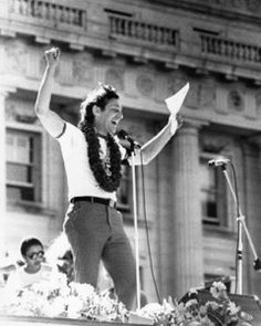 Harvey Milk found his way into gay activism in San Francisco and served all the people of the city as an openly gay member of the board of supervisors. He was known for his love for people and he attracted quite a following. Havey Milk day was celebrated across the country with demonstrations, parties (fund raisers), and ceremonies celebrating the good feeling of freedom.