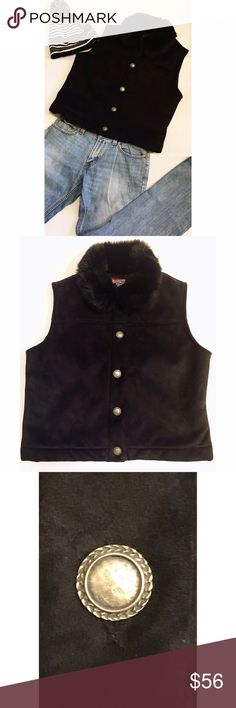 """Vintage Valley Canadian Sleeveless Vest Faux Fur This is a sleeveless vest from Canadian company Vintage Valley County Clothing. Details include thick faux fur collar, top stitching on seams, what I believe are Pewter buttons, and a cozy lining. Color is a deep black. Fabric is poly and dry cleaning recommended. Size XL. Length is 22, and bust measures almost 44"""". All measurements are approximate. In excellent condition.  Title  Original price  Asking price Vintage Valley  Jackets & Coats…"""