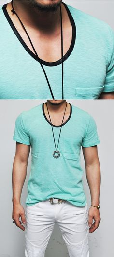 Loose Fit Leather Trim Deep U-neck-Tee in Mint