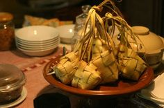 Ketupat as main dish of the day