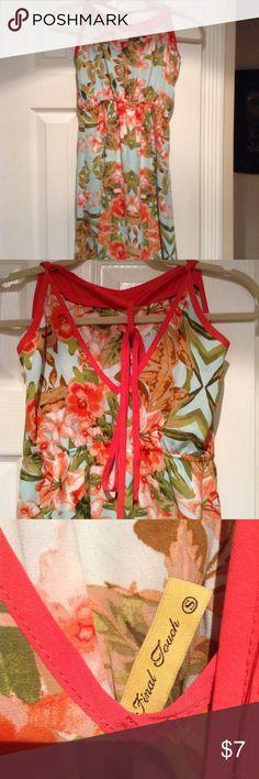Sundress NWOT Adorable sundress print fabric orange trim. Tie in crack. Lovely. Final Touch Dresses Mini