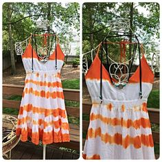Stunning hi lo crochet detail tie dye dress! Soft orange and white make a statement! Racer tie back with elasticized back for the perfect fit! Love!  Follow me on Instagram @kfab333 for more items En Creme  Dresses