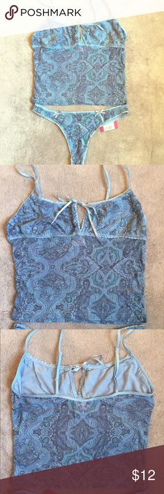 🆕NWT/NWOT Cute Cami & Thong NEW cute blue print size M cami and thong.  Cami is NWOT; ties at bust.  Thong is NWT. Xhilaration Intimates & Sleepwear