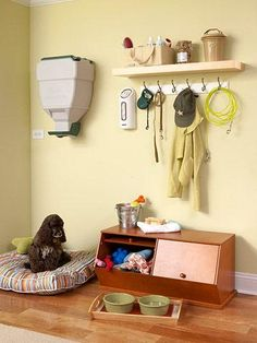Plan for pets  The mudroom is the ideal spot to store pet food, leashes, toys, and other supplies. Storing food in sealed containers rather than in the bag will help deter mice and other pests. This wall-mounted dog food dispenser frees up shelf space and lets you feed Fido without lifting a heavy container each time.