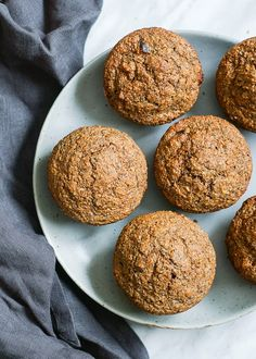 Date bran muffins made with whole wheat flour and flax [replace canola oil with olive oil for a much healthier version]
