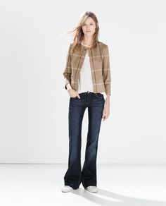 Image 1 of APPLIQUE COLLAR CHECKED WOOL BLAZER from Zara