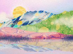 Orie's scenery art. #景色の絵 #景色イラスト #山イラスト #イラスト #scenery #おしゃれイラスト Painting, Painting Art, Paintings, Painted Canvas, Drawings