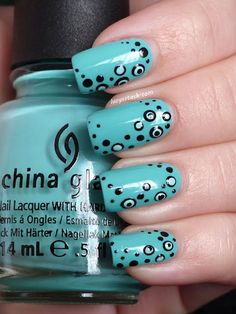 """Cute \""""Dotticure\"""" Nails  New to nail art? Dotted designs, like this aqua creme from Lucy's Stash, make great beginner projects, since they have a small margin of error"""