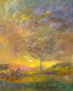 'Twister' by Kathe Soave, tornado expressive landscape 16 x 20 oil/board