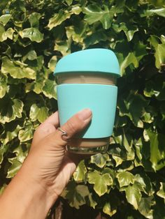 Go green! Cool Mint Reusable Glass Coffee Cup