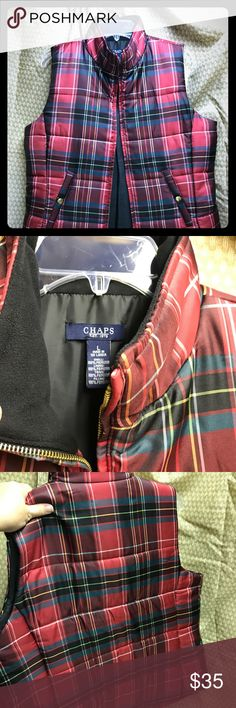 EUC Chaps vest Beautiful red plaid vest.  Worn only 1-2 times.  Like new condition. Chaps Jackets & Coats Vests