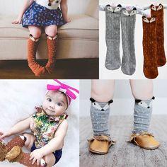 Zorro Calcetines Patrón de Estilo Coreano Niños Niños Niñas Rodilla Altos Calcetines Para la Edad 1-3Years