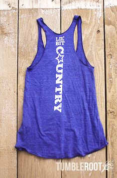 """Adorable """"Lil' Bit Country"""" star tank top! The perfect country concert tank. Pairs well with a cold beer and a warm summer night. -- MINEEE!! I need this."""