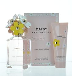 Daisy Eau So Fresh by Marc Jacobs 2 piece Set |MaxAroma.com    This set includes a Eau de Toilette 4.25 oz 125 ml spray & Radiant body lotion 2.5 oz 75 ml . Fragrance notes are Natural Raspberry, Grapefruit, Pear, Violet, Wild Rose, Apple Blossom, Musks, Cedarwood, and Plum.