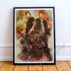 Supernatural Sam And Dean Poster Supernatural by VikiArtShop