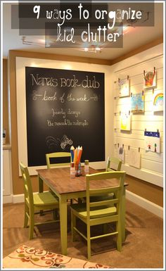 Kids' playroom: love the tasteful chalkboard and a place to hang art. Another idea is a removable cloth bulletin board instead of clothes lines.
