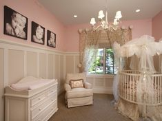 Elegant pink nursery! (Same colors as G's room). Love the molding. So want this for my baby girls room! Also, lots of other rooms on this site