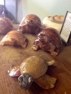 My Turtle herd made out of natural onyx crawling through the sand at The Sand & Stone Gallery in Holland, MI.