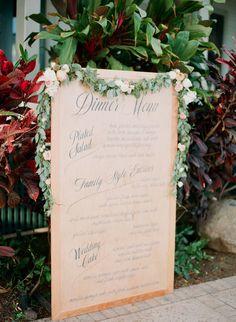 Tropical Maui Wedding from Gina Meola Photography. - Reception menu
