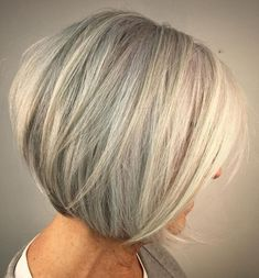 A-Line Gray Bob For Women Over 60