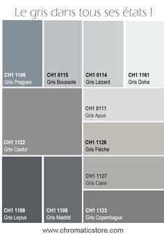 Neutre ou coloré, le gris est un allié en décoration : en couleur de liaison ou de transition, il se marie facilement à toutes les teintes et tous les styles. www.chromaticstore.com #deco #gris #nuancier