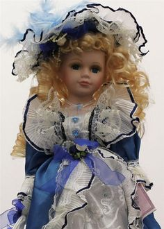 """COLLECTIBLE PORCELAIN LIMITED ADDITION VICTORIAN DOLL IN BLUE DRESS 16"""" KB16015A #Kinnex"""