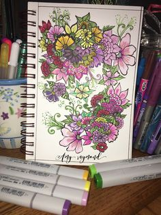 #floral #sketch  by Amy Raymond 2/16/17.  #pigma #bw #doodle #inkart #mixedmedia #art #artismytherapist #zen #diy #draw #colored #copic #coloring