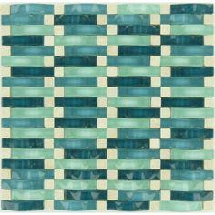 Aqua Green Weave Glass and Stone Glossy & Unpolished Tile