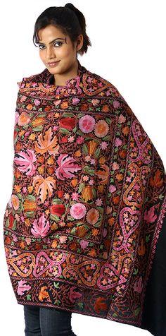 very colorful hand embroidered Kashmir shawl Embroidery Patterns Free, Shawl Patterns, Textile Patterns, Sewing Patterns, Textiles, Designer Scarves, Designer Dresses, Kashmiri Shawls, 20s Fashion