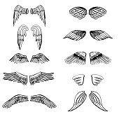 Asas ilustração de silhuetas conjunto para fazer o seu emblema, rótulo