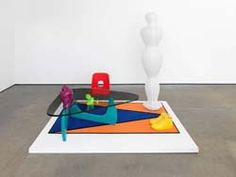Untitled: Furniture Island No. 2 (and detail)  2008  Abacus rug, ikea torim lamp, noguchi replica table, robin day chair, nike dunk supremes, buddha head, panton miniature, rashid lighter  190 x 180 x 140 cm
