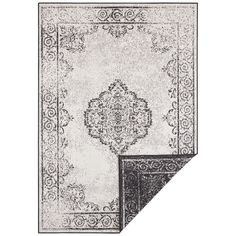 Cebu fekete-krémszínű kültéri szőnyeg, 80 x 150 cm - Bougari   Bonami Cebu, Construction Cleaning, Elle Decor, Outdoor Rugs, Vintage World Maps, Oriental, Kids Rugs, Quilts, Pattern