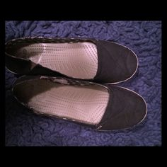 f0341585edac99 Almost new Crocs flats size 9 I bought the wrong size of black Crocs while  on