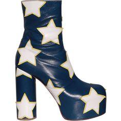 Vetements Ankle boots for Women - Vetements Ankle boots for Women Vetements Star-Motif Leather Ankle Boots in White (Blue) Blue Block Heels, Block Heel Shoes, Rock Boots, Blue Boots, Star Boots, Only Shoes, Vogue, Leather Ankle Boots, Cute Shoes