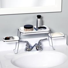 "<a href=""http://www.target.com/p/zenna-home-over-the-faucet-shelf-trays-white-chrome/-/A-16676321"" target=""_blank"">An Over-the-Faucet Shelf for Toiletries</a>"