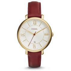 Fossil Jacqueline Maroon Leather Watch ($115) ❤ liked on Polyvore featuring jewelry, watches, slim watches, leather watches, leather wrist watch, fossil wrist watch and leather-strap watches