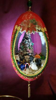Eggshell Christmas ornament  www.spiritsinshells.com