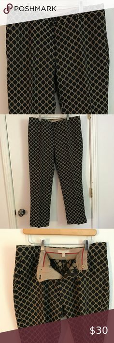 Banana Republic Camden Ankle Pant Gold and Black brocade lattice print ankle pants Straight legs, front side and back pockets, belt loops and slits at the ankles Gently used and in excellent condition Size 14 Waist 38 in. Length 38 in. Inseam 28 in. Leg opening 15 in. 67% Cotton, 32% Polyester, 1% Spandex Dry Clean  Bundle and Save! Banana Republic Pants & Jumpsuits Ankle & Cropped Ankle Pants, Legs Open, Camden, Pant Jumpsuit, Jumpsuits, Size 14, Banana Republic, Spandex, Pockets