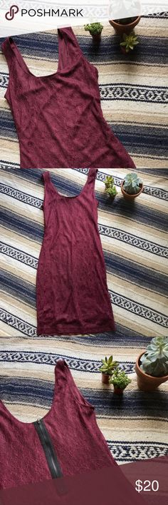 Bar III Maroon Lace Dress! ✨NWOT Bar lll Maroon Lace Dress✨  Maroon Lace dress with a cute black statement zipper in the back! It fits like a dream! Never before worn! Perfect condition! Size S.   Don't like the price? Make me an offer with the button below! 👇🏻😊 Bar III Dresses