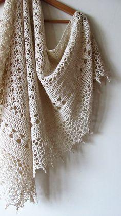 Crochet Cotton Shawl - White Ivory Summer Shawl - Wedding Bridal Wrap - Made To Order T-shirt Au Crochet, Poncho Au Crochet, Crochet Poncho Patterns, Crochet Shawls And Wraps, Crochet Shirt, Shawl Patterns, Crochet Scarves, Crochet Clothes, Hand Crochet