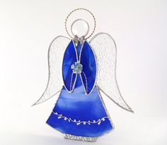 Christmas Angel Ornament Blue Stained Glass by Nostalgianmore, $65.00