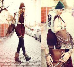 After every storm there comes a rainbow (by Lina ♡) http://lookbook.nu/look/4760935-after-every-storm-there-comes-a-rainbow-Bag-Dress-Vest-Beanie-Rings-Tights-Boots
