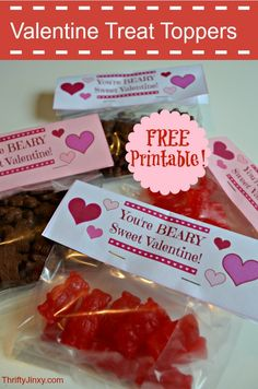 Free Printable Valentines Day Treat Toppers - Thrifty Jinxy